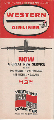 Western Airlines timetable 1965/04/01