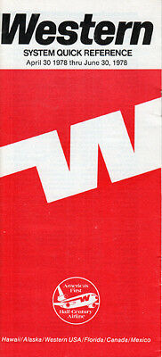 Western Airlines timetable 1978/04/30