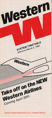 Western Airlines timetable 1982/03/02