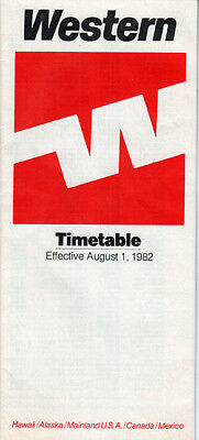 Western Airlines timetable 1982/08/01