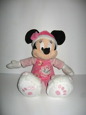 Disney Minnie Mouse Pink Pajamas Marie Aristocats Slippers Hat Plush Doll 15""