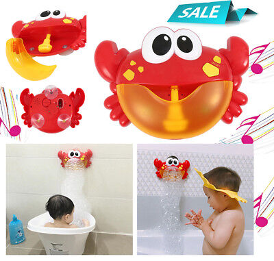 Shower Kids Bubble Machine Bath Crab Bubble Maker Automated Spout Fun Toy & box