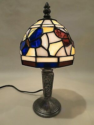 Vintage Tiffany Style Butterfly Stained Glass Table Lamp 11