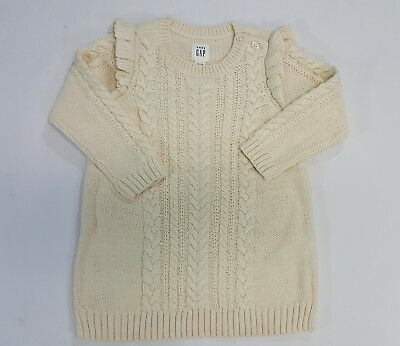 d4b88220b6de BABY GAP NWT Ivory Frost FAUX FUR LINED SWEATER DRESS MITTENS 0 3 6 ...