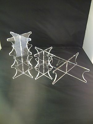 3 Tier Clear Acrylic Wedding Cake Perspex Display Plastic Stand Set Of 3 Stands