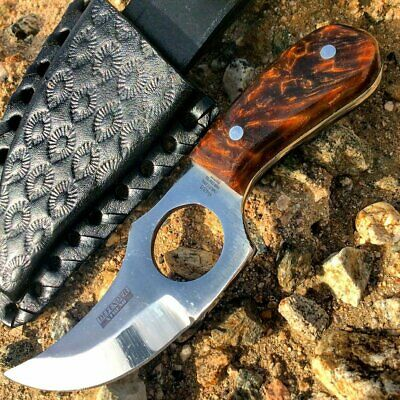 "5.5"" HAND MADE FIXED BLADE GUT HOOK SKINNING KNIFE Game Hunting Bowie Skinner"