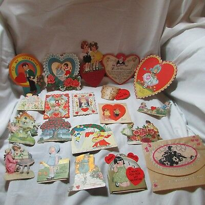 Vintage 1920's-30's Lot of 20+ Valentine's Day Greeting Cards, Diecut
