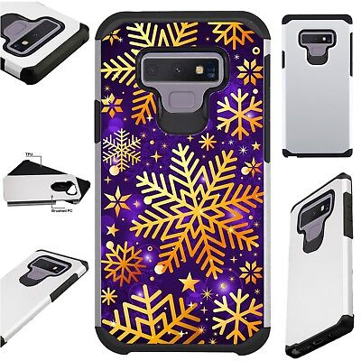 FUSIONGuard For Samsung Christmas Holiday Phone Case Cover GOLD SNOWFLAKE PURPLE