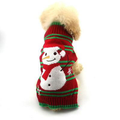 Pet Christmas Sweater Warm Knit Striped Puppy Clothes Xmas Costume for Dogs Cat