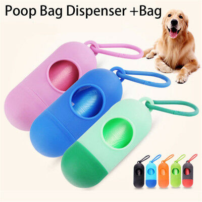 Pet Dog Garbage Clean up Bags Waste Carrier Holder Dispenser + Poop Bags kit HT
