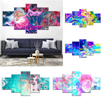 Modern Abstract Canvas Print Painting Framed Home Decor Wall Art pp Poster 5Pcs