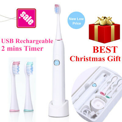 sonic electric toothbrush travel white usb rechargeable 2 minutes