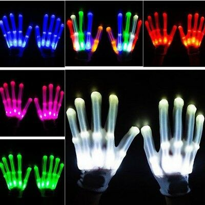 LED-Lichthandschuhe blinkende Finger Glow Fäustlinge Dance Rave Xmas Party Dekor