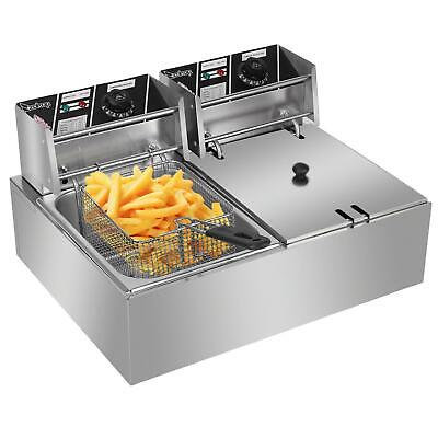 Stainless Steel Commercial Electric Deep Fryers Twin Fat Fryer Double Tank UK