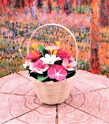 Miniature Fairy Garden Pink & White Flowers in White Basket - Buy 3 Save $5