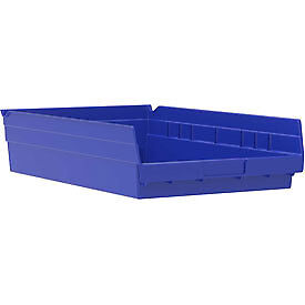 "Akro-Mils Plastic Shelf Bin Nestable 30130 - 6-5/8""W x 11-5/8""D x 4""H Blue"