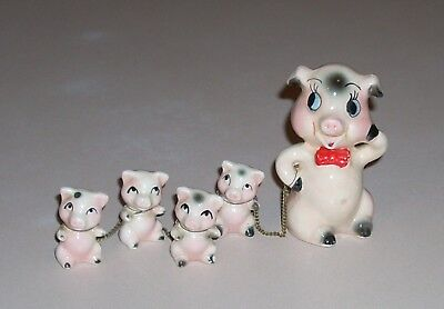 Vintage Ceramic Papa Pig and 4 Piglets with Chains Chained Together Figurines