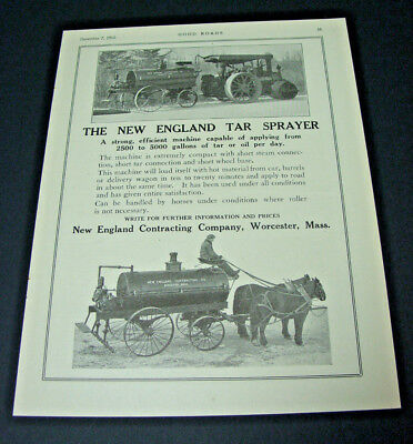 Old 1912 ad~TAR SPRAYER~Horses, Steam Roller Tractor~New England Contracting Co.