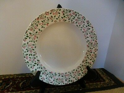 "Homer Laughlin 10"" Plate Red-Green Holly/Flower - Christmas Pattern??"