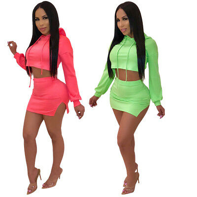 New 2 Pcs Autumn Sexy Hooded Cropped Top Side Slit Mini Dress Club Set for  Women 112a5883d