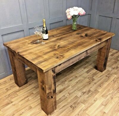Industrial Reclaimed Farmhouse Dining Table Antique Vintage Chunky Dining Table