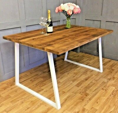 Industrial Reclaimed Dining Table Rustic Antique Farmhouse Table with White Base
