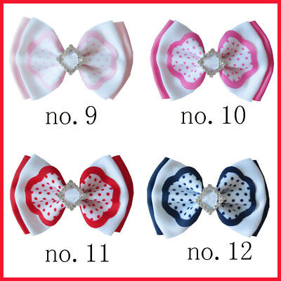 "20 BLESSING Good Girl Boutique 4"" Double Bowknot Hair Bow Clip Accessories"