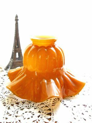 Antique 1900 Cased Glass Amber Caramel Ruffled Tulip Flower Lamp Shade Sconce