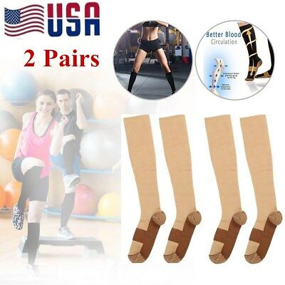 (2 Pairs) Copper Compression Socks 20-30mmHg Graduated Support Mens Womens S-XXL