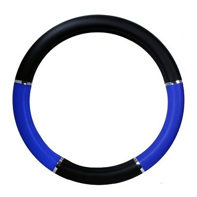 """steering wheel cover black & blue with chrome trim for 18"""" Freightliner KW wheel"""