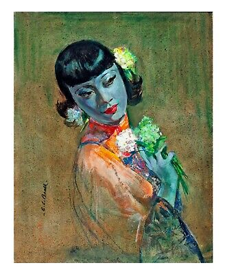 Cecil Beall The Fan Tretchikoff Lynch Kitsch Vintage Retro Best Quality Print