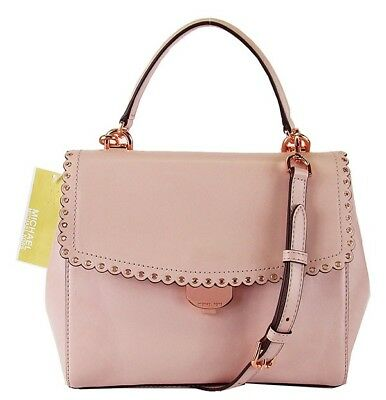7c8ffecb2d6b8b MICHAEL KORS AVA Soft Pink Leather Scalloped Crossbody Bag Msrp $328.00