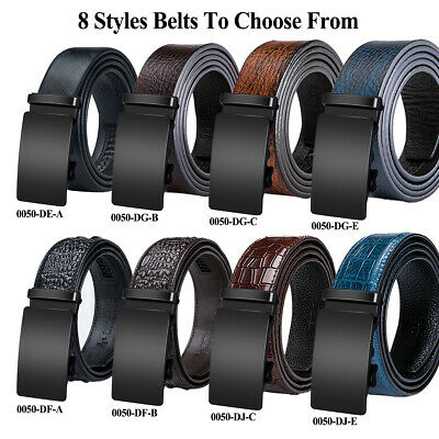 8 Styles Genuine Leather Mens Belts Black Solid Automatic Buckles Ratchet Belts