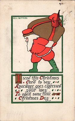 """Christmas Postcard By Rust Craft, Copyright 1913, #544, Signed """"Nell Witters""""."""