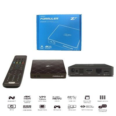 Formuler Z7+ Plus 4K IPTV Quad Core 2GB DDR4 Android 7.1 + Wifi Ant. + IR Extend