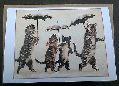 Tabby cats & umbrellas in the snow vintage style Christmas card, Yule, unusual