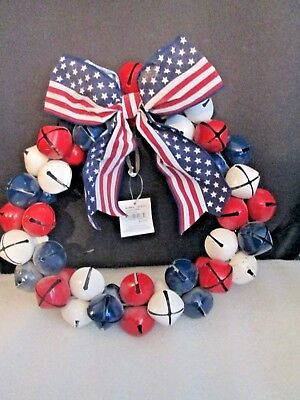 """Christmas /Patriotic Holiday Jingle Bell Wreath Door Decoration 12"""" New W/ Tags"""