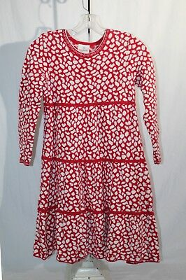 e89be86a48 HANNA ANDERSSON Girls Red White Tiered Holiday Sweater Dress A-Line Sz-140