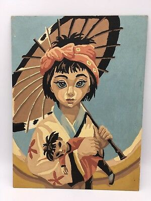MCM Paint By Number Painting Asian Girl Big Eyes Vintage Mid Century Art 12 x 9