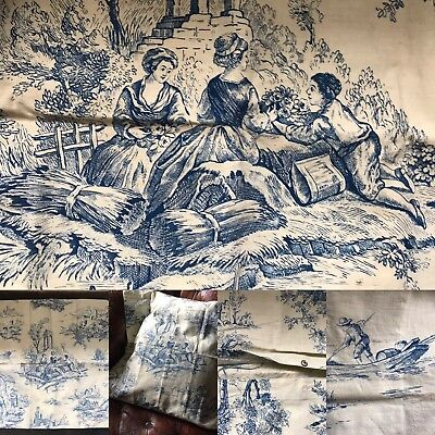"""Stunning Vintage french Shabby Chic Cotton Toile De Jouy Cushion Cover 23.5""""/24"""""""