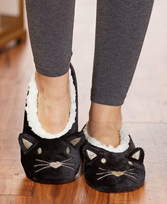 Black & Gold Cat Embroidered Sherpa Slippers IN HAND Womens Kitty Lover Gift