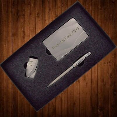 Personalized Business Card Case Gift Set Money Clip, Pen Christmas Gift for Him