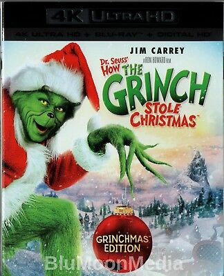Dr. Seuss' How the Grinch Stole Christmas BLU-RAY 4K Jim Carrey w/ Slipcover NEW