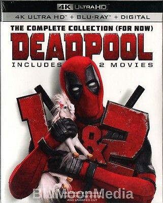 Deadpool 1 & 2 BLU-RAY 4K Ultra HD + Digital 2 Movie Collection Box Set NEW