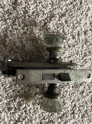Vintage Antique Glass Door Knobs, Door Plates, and Mortise Lock Set