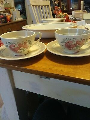 Vintage Tea Cups Susie Cooper England 1930s 1940's  Tiger Lily set of 2 Pottery