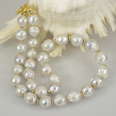 """NECKLACE White KASUMI Freshwater PEARLS & Gold Vermeil .925 Sterling SILVER 19"""""""