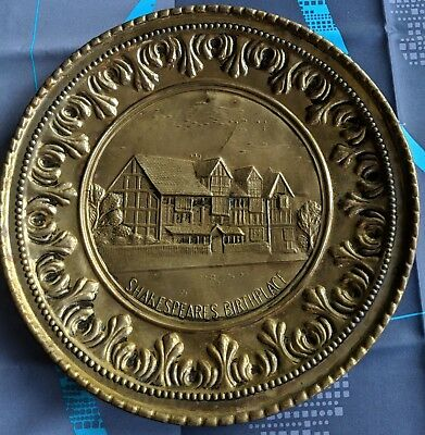 "Shakespeare's Birthplace Vintage Metal Wall Plate 12"" England, Brass Colored"