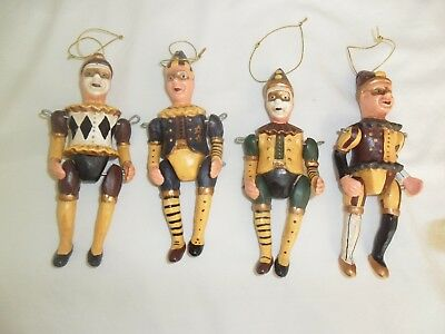 Lot Of Four (4) Pre Owned Mardi Gras Jester Marionette Christmas Ornaments