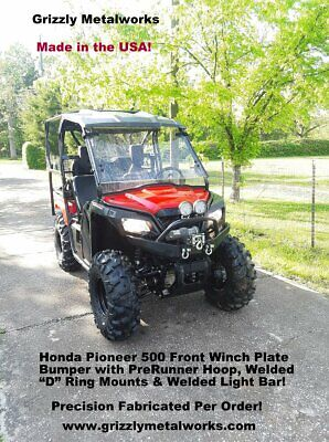 CUSTOM GRIZZLY HONDA PIONEER 500 FRONT WINCH BUMPER BRUSH GUARD -  Raw Metal